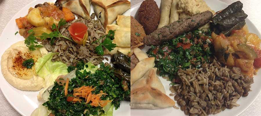 Vegetarisk och orientalisk tallrik